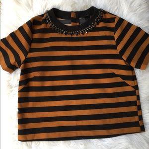 H&M Amber Striped Jewel Collar Top